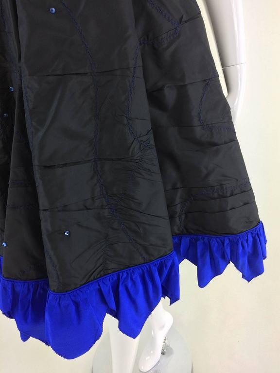 Fabrice black silk taffeta blue zigzag hem strapless cocktail dress 1980s 3