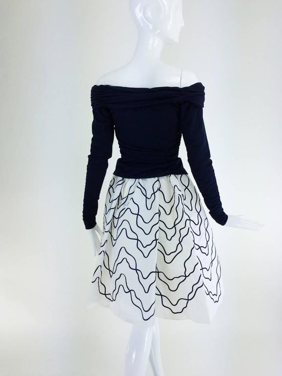 Victor Costa navy jersey draped top & paper taffeta applique full skirt 1980s For Sale 2