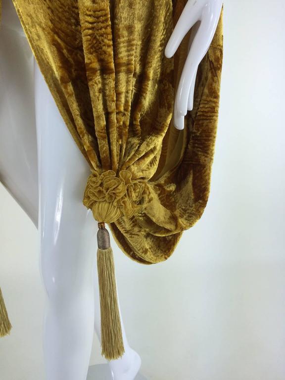 Venetia Studium Embossed Gold Silk Velvet Tasseled Evening