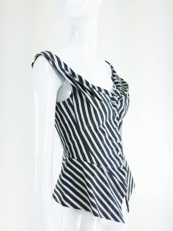 Vivienne Westwood Anglomania black & white striped corset top 1990s 6