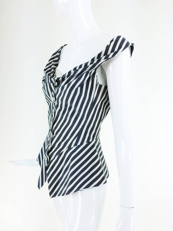 Vivienne Westwood Anglomania black & white striped corset top 1990s 2