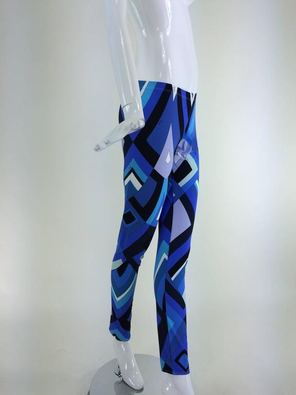 Pucci geometric leggings in shades of blue 3