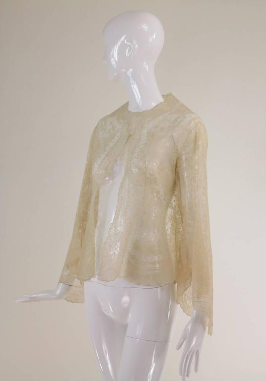 Blond Chantilly lace open front jacket wedding finery handmade 1860s 2