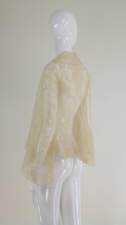 Blond Chantilly lace open front jacket wedding finery handmade 1860s 3
