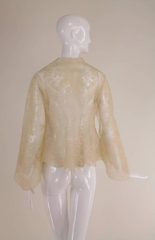 Blond Chantilly lace open front jacket wedding finery handmade 1860s 4