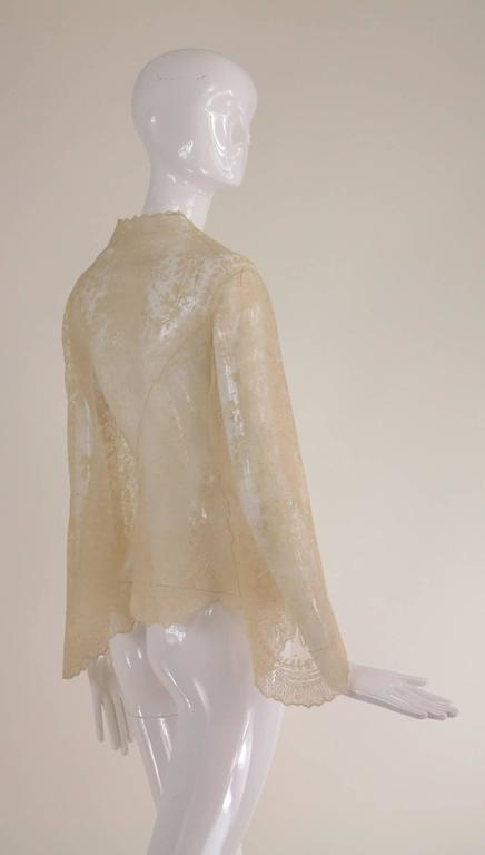 Blond Chantilly lace open front jacket wedding finery handmade 1860s 5