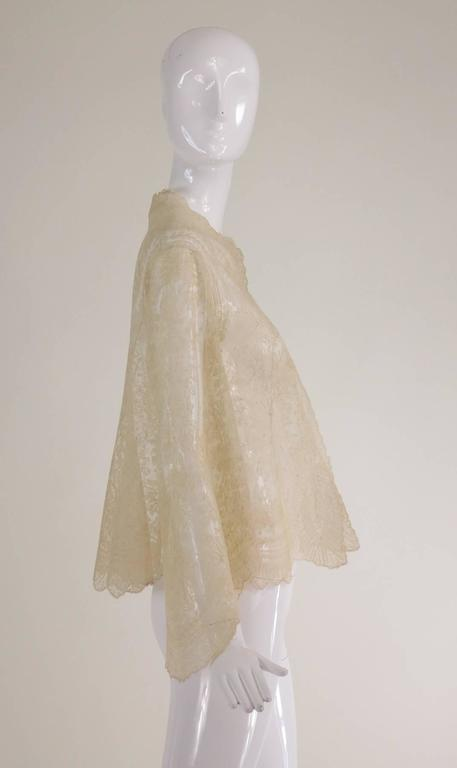 Blond Chantilly lace open front jacket wedding finery handmade 1860s 6