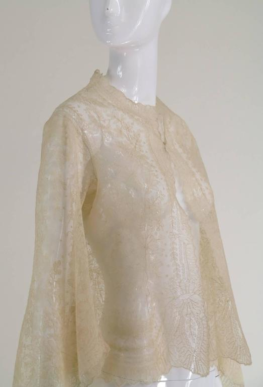 Blond Chantilly lace open front jacket wedding finery handmade 1860s 7