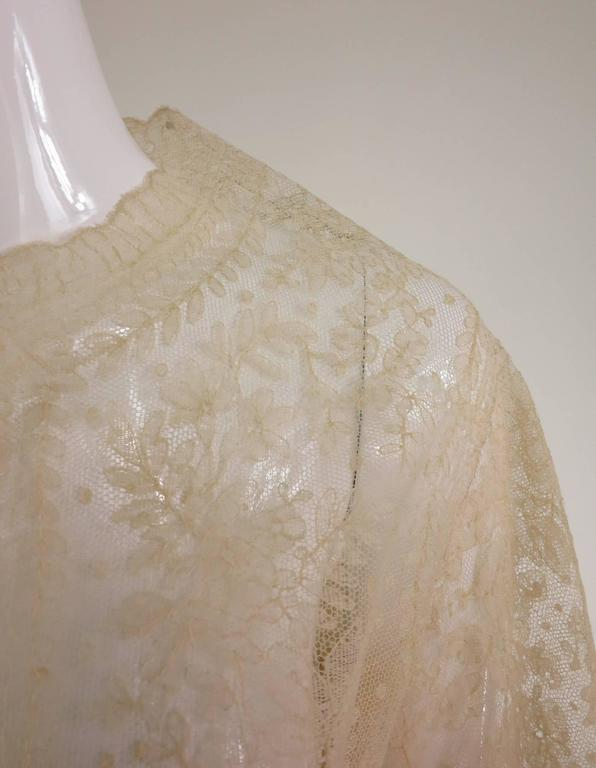 Blond Chantilly lace open front jacket wedding finery handmade 1860s 8