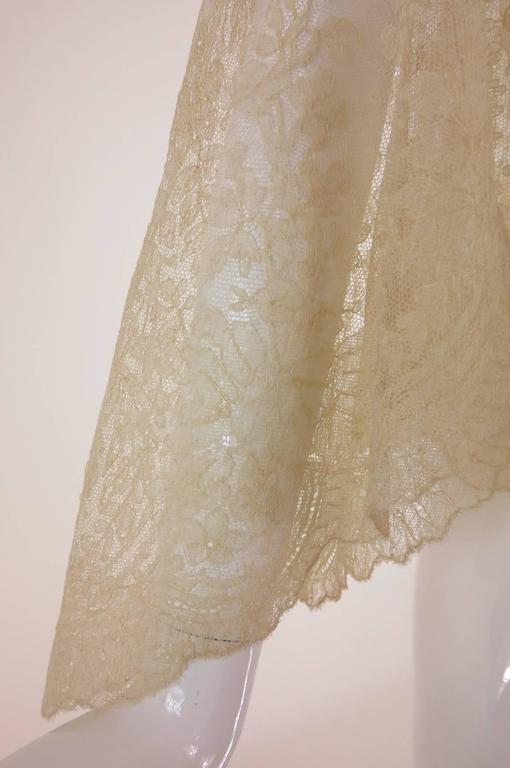 Blond Chantilly lace open front jacket wedding finery handmade 1860s 9