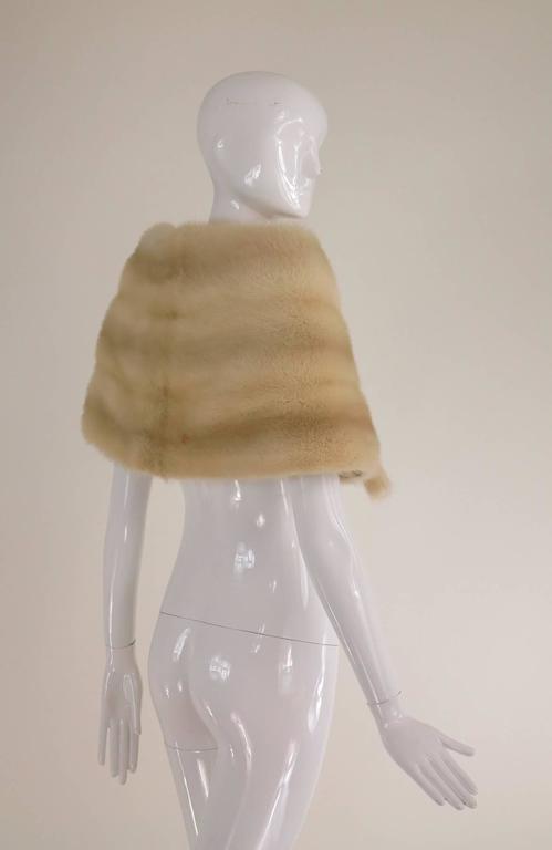 Gunther Jaeckel furs  Bonwit Teller champagne mink tie front cape 1960s 5