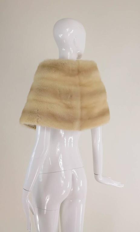 Gunther Jaeckel furs  Bonwit Teller champagne mink tie front cape 1960s 7