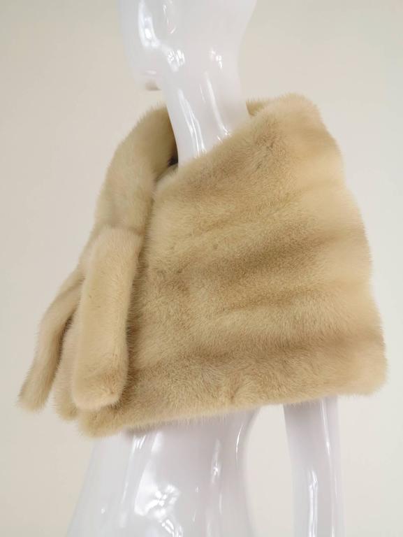 Gunther Jaeckel furs  Bonwit Teller champagne mink tie front cape 1960s 8
