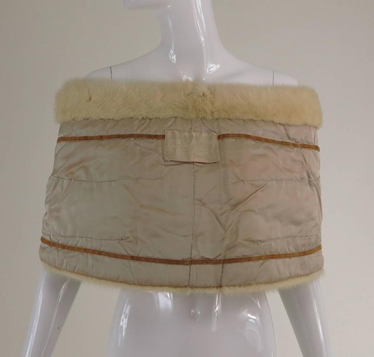 Gunther Jaeckel furs  Bonwit Teller champagne mink tie front cape 1960s 9