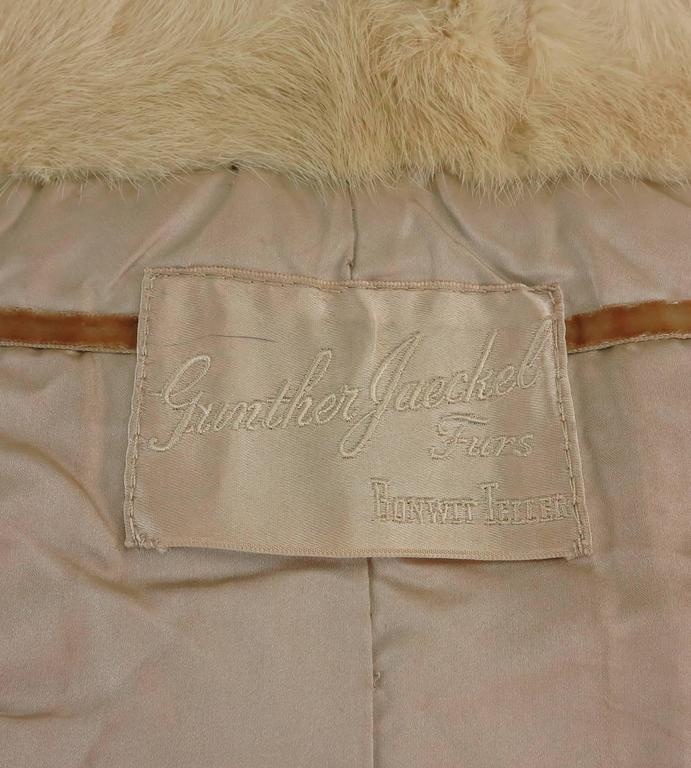 Gunther Jaeckel furs  Bonwit Teller champagne mink tie front cape 1960s 10