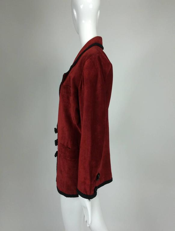 Red Yves St Laurent Rive Gauche le smoking burgundy red suede jacket 1990s For Sale