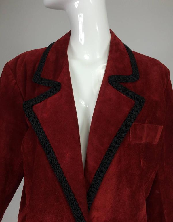 Yves St Laurent Rive Gauche le smoking burgundy red suede jacket, 1990s...Rich burgundy red suede jacket is reminiscent of smoking jackets from the 1890s...Relaxed shape, double breasted jacket has notched lapels and a single banded breast