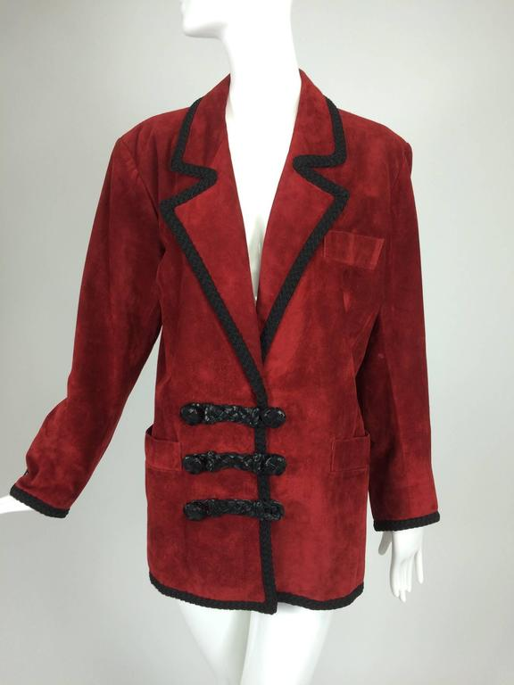 Yves St Laurent Rive Gauche le smoking burgundy red suede jacket 1990s For Sale 5