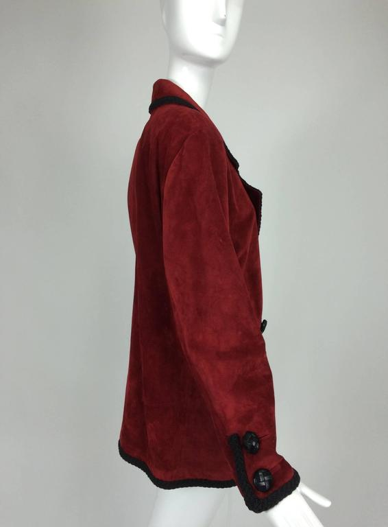 Yves St Laurent Rive Gauche le smoking burgundy red suede jacket 1990s For Sale 2