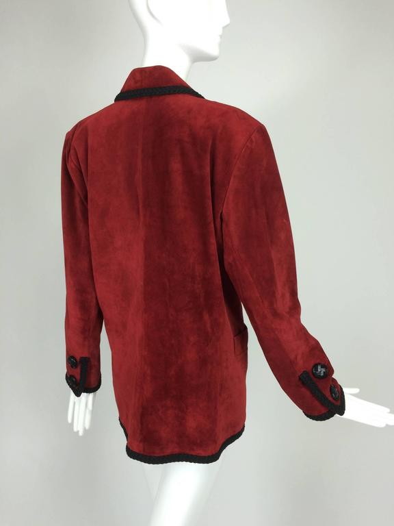 Women's Yves St Laurent Rive Gauche le smoking burgundy red suede jacket 1990s For Sale