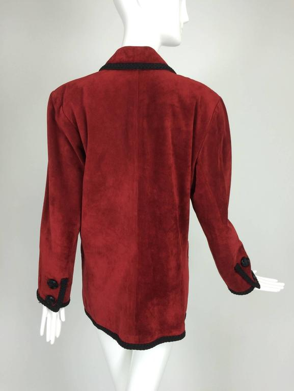 Yves St Laurent Rive Gauche le smoking burgundy red suede jacket 1990s In Excellent Condition For Sale In West Palm Beach, FL