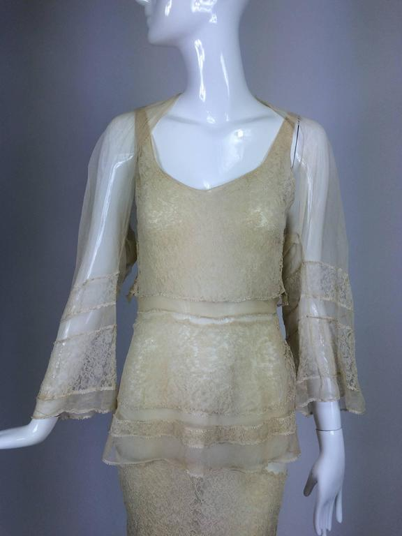 1930s champagne lace & silk bias cut tiered wedding dress & shrug...This would make a fabulous wedding dress...The dress is made from cord applique lace in a champagne colour, it features a deep scoop neckline front and back, the dress is