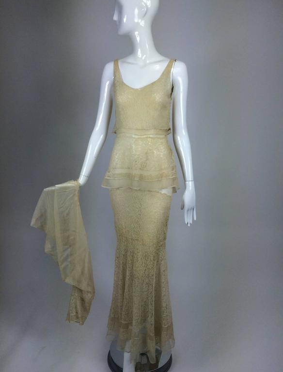 1930s champagne lace and silk bias cut tiered wedding dress and ...