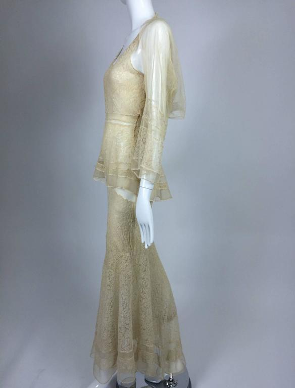 1930s champagne lace & silk bias cut tiered wedding dress & shrug  3