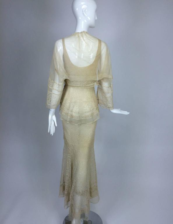 1930s champagne lace & silk bias cut tiered wedding dress & shrug  2