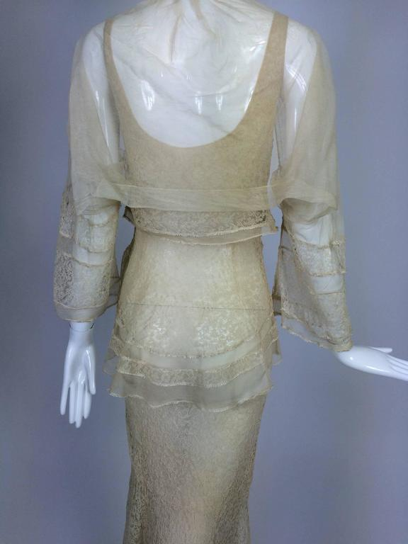 1930s champagne lace & silk bias cut tiered wedding dress & shrug  5