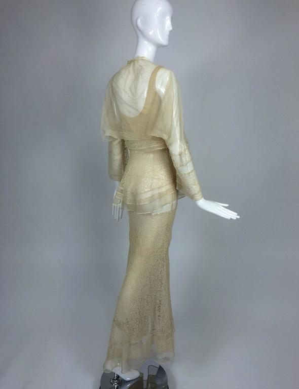 1930s champagne lace & silk bias cut tiered wedding dress & shrug  1