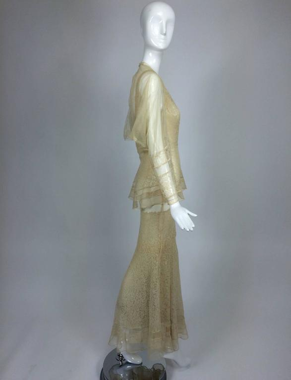 Women's 1930s champagne lace & silk bias cut tiered wedding dress & shrug