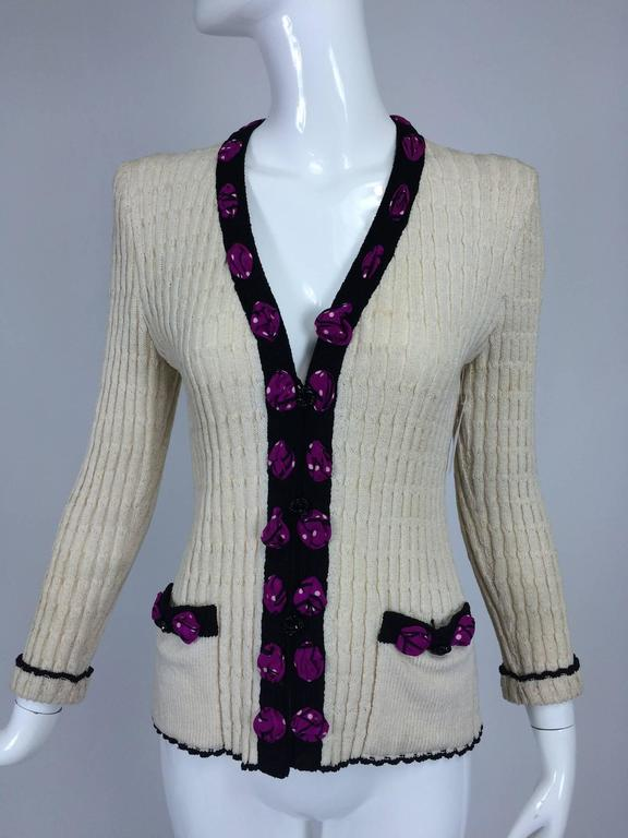 Adolfo cream cable knit rosette trimmed cardigan sweater/jacket 1970s 10