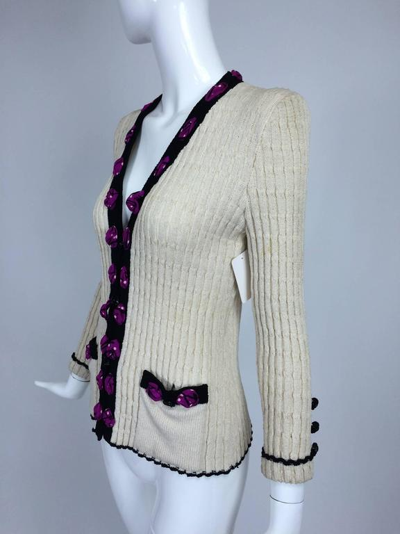 Adolfo cream cable knit rosette trimmed cardigan sweater/jacket 1970s 2