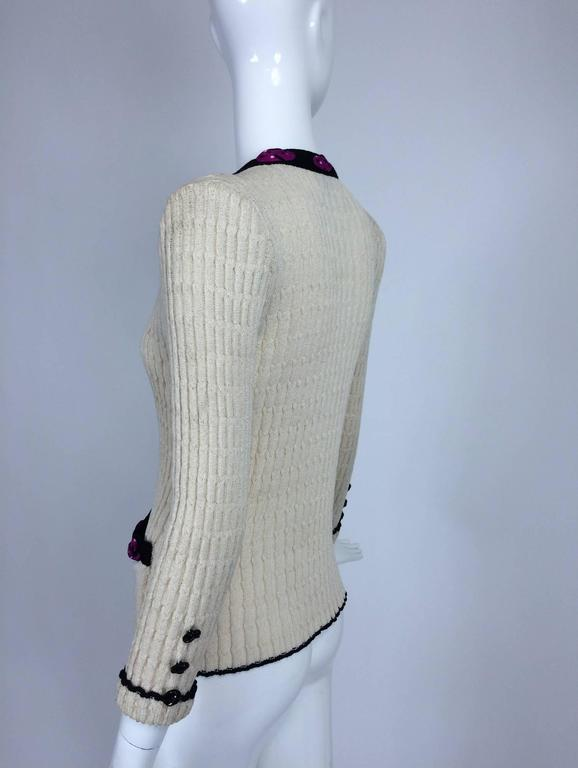 Adolfo cream cable knit rosette trimmed cardigan sweater/jacket 1970s 3