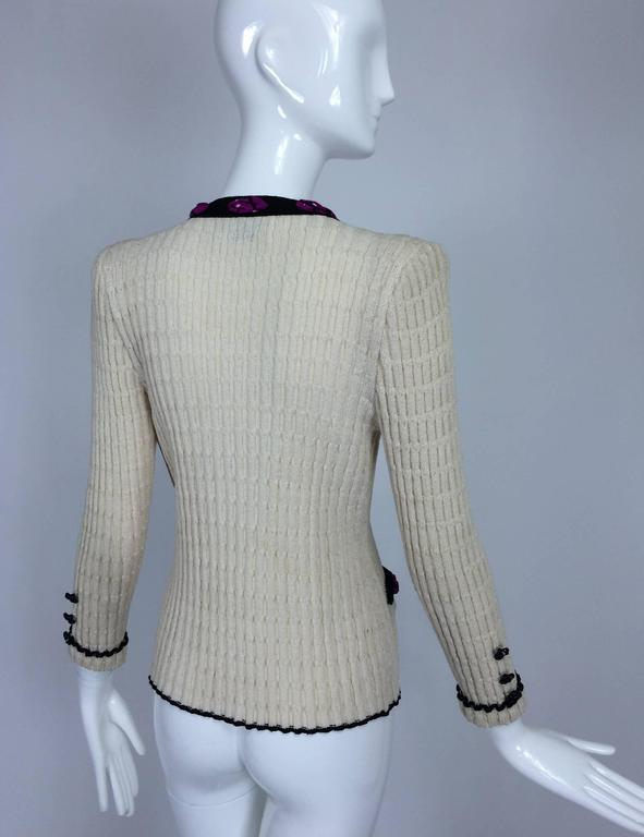 Adolfo cream cable knit rosette trimmed cardigan sweater/jacket 1970s 5