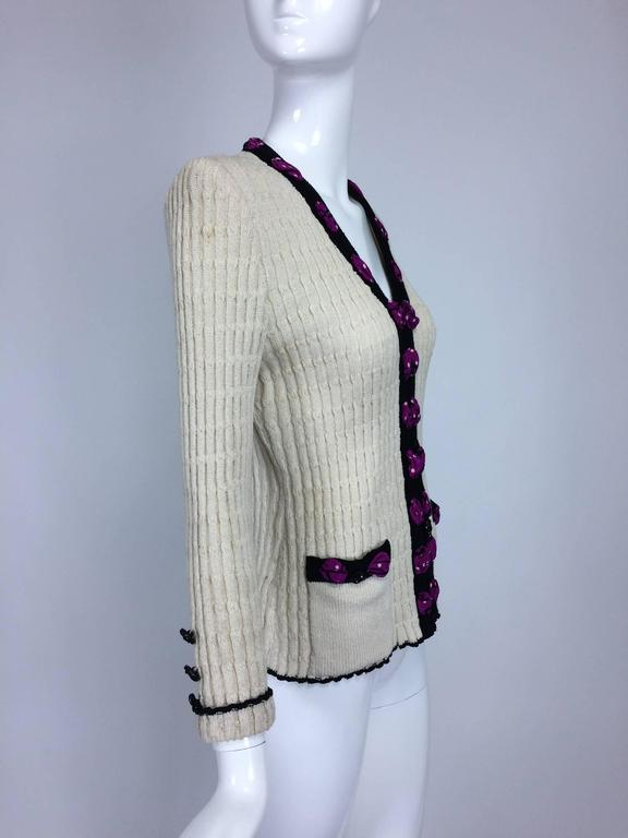 Adolfo cream cable knit rosette trimmed cardigan sweater/jacket 1970s 7