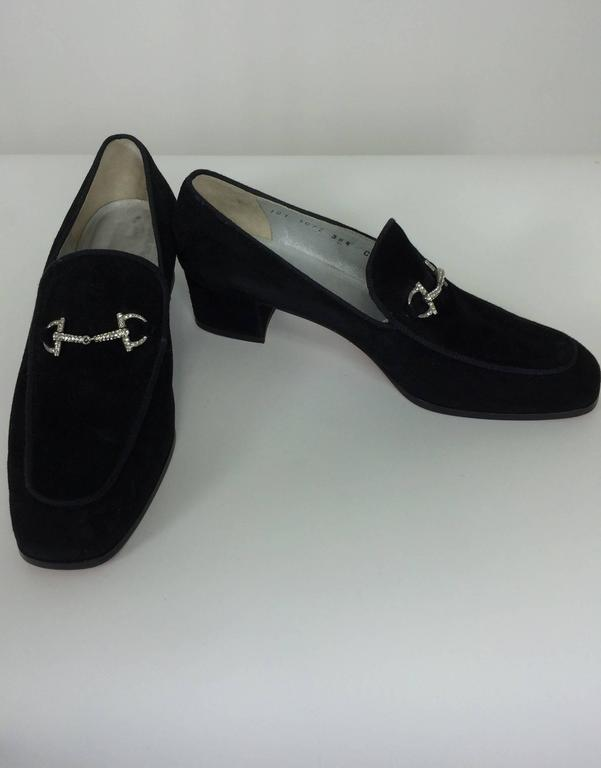 Gucci chunky black suede rhinestone bit loafers 38 1/2 C 2