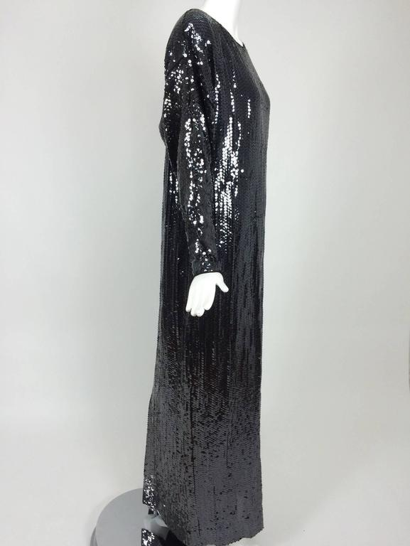 Black Halston glittery black sequin bat wing evening gown  For Sale