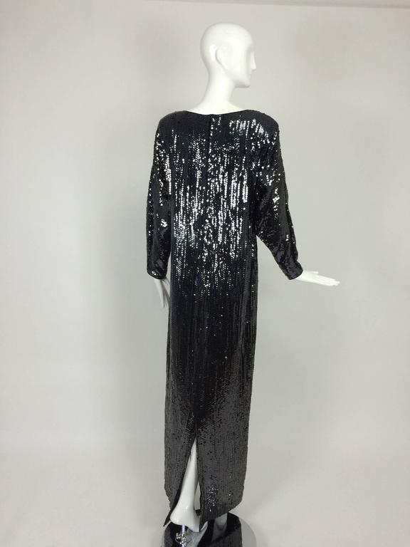 Women's Halston glittery black sequin bat wing evening gown  For Sale