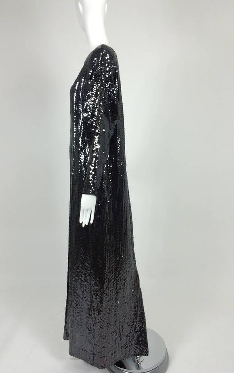 Halston glittery black sequin bat wing evening gown  For Sale 3