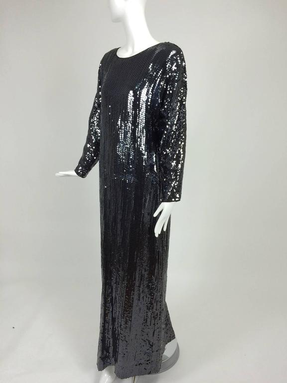 Halston glittery black sequin bat wing evening gown  For Sale 2