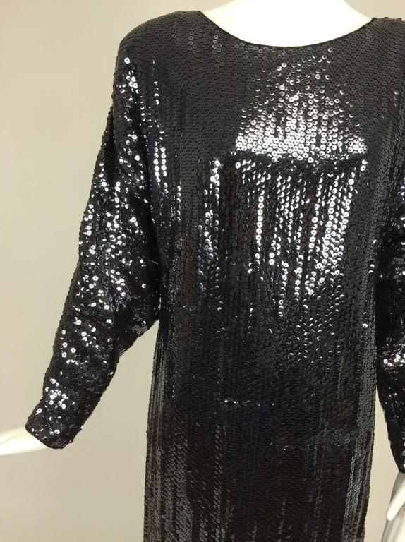 Halston glittery black sequin bat wing evening gown  For Sale 1