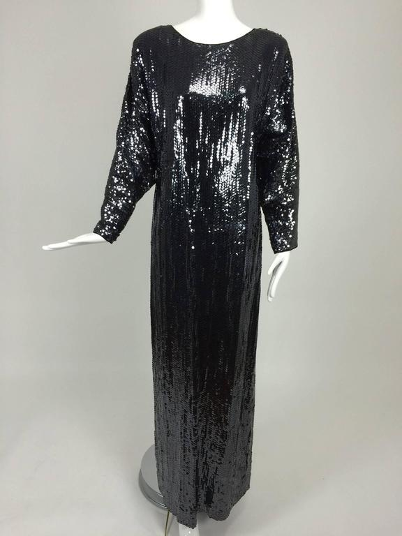 Halston glittery black sequin bat wing evening gown  For Sale 4