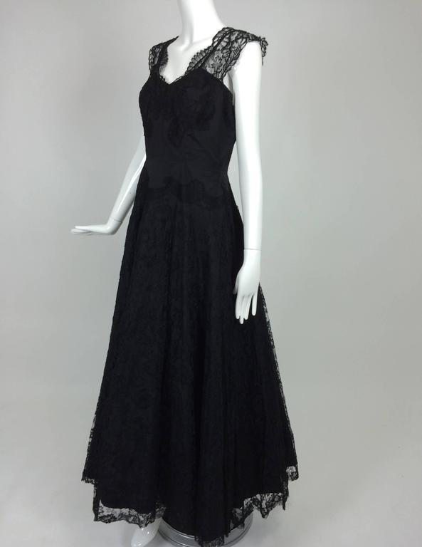 Black 1950s Palm Beach Estate handmade black silk taffeta & lace evening gown  For Sale