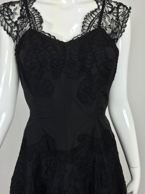 1950s handmade black silk taffeta & lace evening gown 1950s...This dress is from one of the last great old Palm Beach Florida estates, back when live in dressmakers were the rule of thumb!!! Handmade of black silk taffeta with black lace appliques