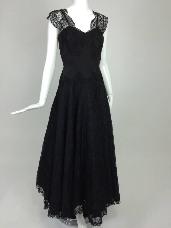 1950s Palm Beach Estate handmade black silk taffeta & lace evening gown  For Sale 5