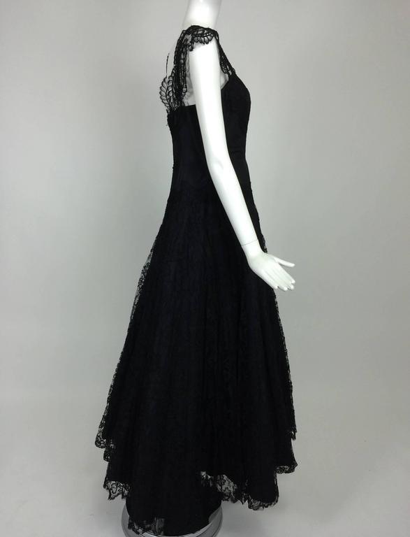 1950s Palm Beach Estate handmade black silk taffeta & lace evening gown  For Sale 3
