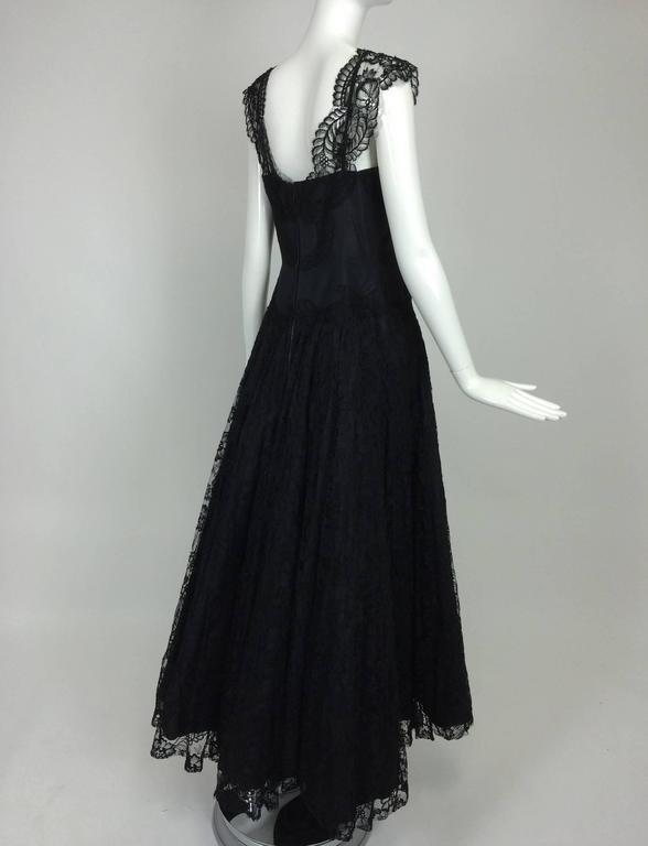 1950s Palm Beach Estate handmade black silk taffeta & lace evening gown  For Sale 2