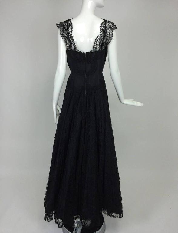 1950s Palm Beach Estate handmade black silk taffeta & lace evening gown  For Sale 1